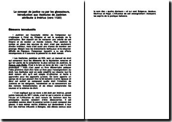 Le concept de justice vu par les glossateurs, Introduction aux Institutes de Justinien attribuée à Irnérius (vers 1120) (plan détaillé)