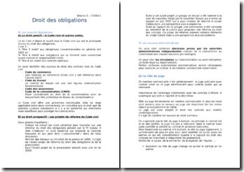 Droit des obligations : sources législatives, sources administratives et la classification des contrats