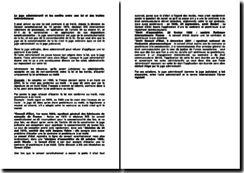 Le juge administratif et les confits entre une loi et des traités internationaux