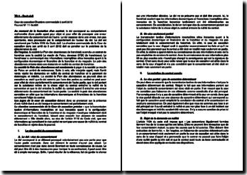 Commentaire d'arrêt de la Chambre commerciale de la Cour de cassation du 3 avril 2012 : le vice partiel du consentement