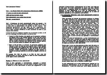 Droit administratif général : le domaine d'application, la justice administrative et l'activité administrative