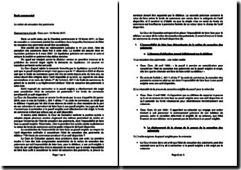 Commentaire d'arrêt de la Chambre commerciale de la Cour de cassation du 15 février 2011 : la notion de cessation des paiements
