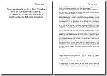 Commentaire d'arrêt de la 1ère Chambre civile de la Cour de cassation du 20 janvier 2010 : les conditions de la société créée de fait entre concubins