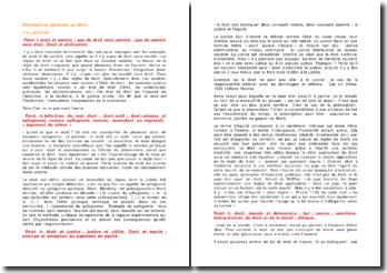 Introduction générale au droit : les sources du droit et la mise en oeuvre des droits