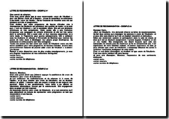 Exemples de lettres de recommandation pour l'obtention d'une bourse d'études par un étudiant