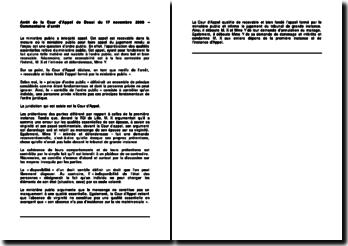 Commentaire d'arrêt de la Cour d'appel de Douai du 17 novembre 2008