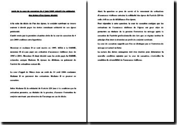 Fiche d'arrêt de la Première Chambre civile de la Cour de cassation du 4 juin 2009 : la solidarité des dettes d'un époux décédé