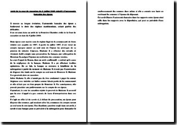 Fiche d'arrêt de la Première Chambre civile de la Cour de cassation du 8 juillet 2009 : l'autonomie bancaire des époux