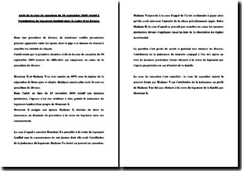 Fiche d'arrêt de la Première Chambre civile de la Cour de cassation du 30 septembre 2009 : l'attribution du logement familial dans le cadre d'un divorce