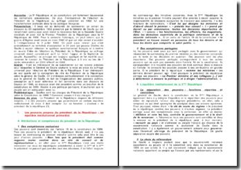 Quelles sont les charges du Président de la République selon la Constitution de 1958 ?