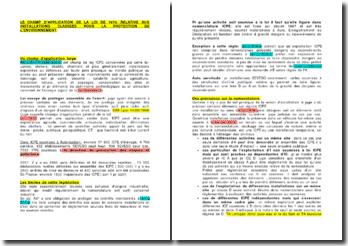 Le champ d'application de la loi de 1976 relative aux installations classées pour la protection de l'environnement