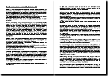 Fiche d'arrêt de la Chambre commerciale de la Cour de cassation du 21 décembre 1987 : la portée de la lettre d'intention