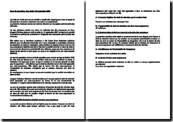 Commentaire d'arrêt de la Première Chambre civile de la Cour de cassation du 24 septembre 2009 : le droit de rétention