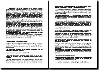 Les règles constitutionnelles directrices de l'Etat fédéral suisse