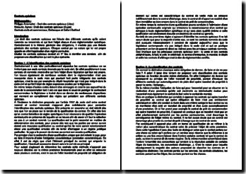 Les contrats spéciaux : l''identification des contrats spéciaux et les contrats portants sur les choses