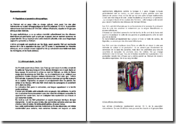 Populations et paramètre ethnographique du Vietnam