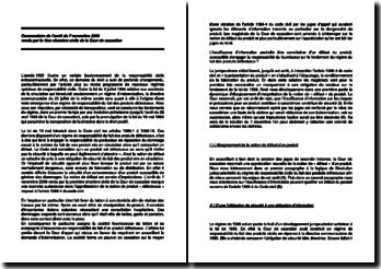 Commentaire d'arrêt de la Première Chambre civile de la Cour de cassation du 7 novembre 2006 : la responsabilité du fait des produits défectueux