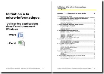 Initiation à la micro-informatique - Applications dans l'environnement Windows