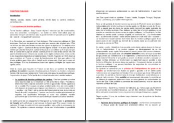 La fonction publique : le cadre général de la fonction publique et la carrière des agents publics