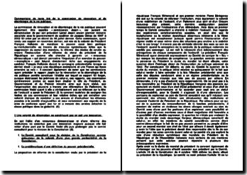 Commentaire de texte tiré de la commission de rénovation et de déontologie de la vie publique