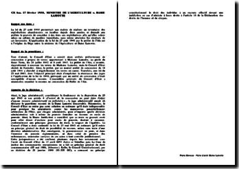 Fiche d'arrêt du Conseil d'Etat du 17 février 1950 : ministre de l'Agriculture contre Dame Lamotte