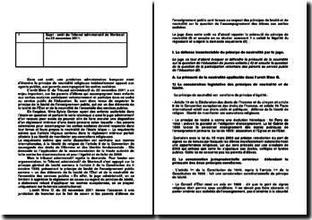 Commentaire d'arrêt du Tribunal administratif de Montreuil du 22 novembre 2011 : la neutralité religieuse