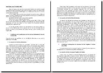 Commentaire d'arrêt de la Chambre commerciale de la Cour de cassation du 5 octobre 1999 : la nature juridique des dividendes