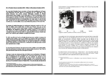 De la Première Guerre mondiale (1914 -1918) à la Révolution d'octobre (1917)