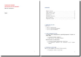 Cahier des charges pour la réalisation d'un site internet