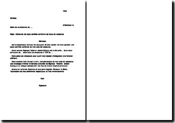 Demande de copie certifiée conforme de l'acte de naissance