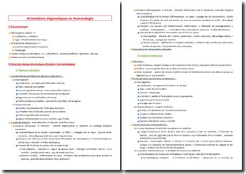 Orientations diagnostiques en rhumatologie