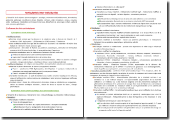 Particularités inter-individuelles en pharmacologie