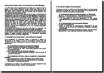 Plan de commentaire de l'article 3 alinéa 1 de la Constitution de la Vème République