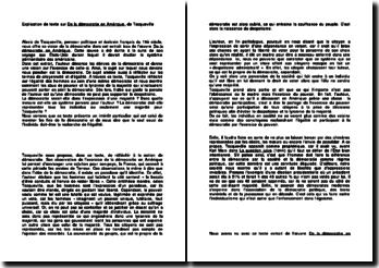 Explication de texte sur De la démocratie en Amérique - Tocqueville