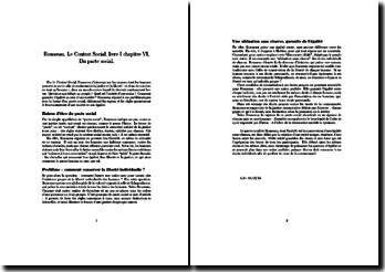 Le Contrat Social, livre I, chapitre VI - Rousseau : Du pacte social