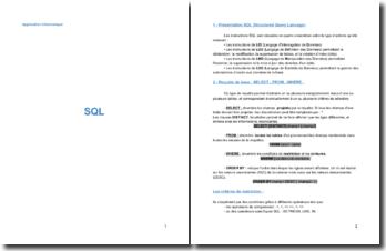 Les instructions SQL (Structured Query Language)