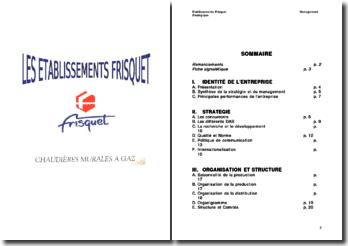 Management stratégique des établissements Frisquet