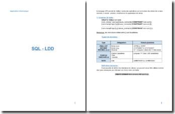 Le langage LDD : la création de tables