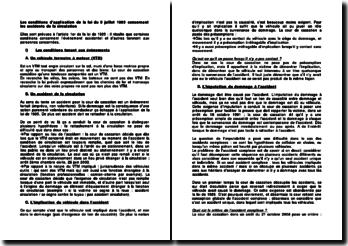 Les conditions d'application de la loi du 5 juillet 1985 concernant les accidents de la circulation