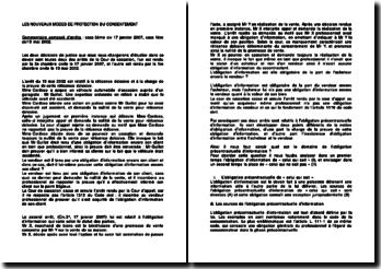 Commentaire comparé des arrêts de la Troisième Chambre civile de la Cour de cassation du 17 janvier 2007 et de la Première Chambre civile de la Cour de cassation du 15 mai 2002