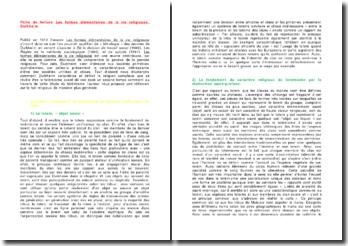 Les formes élémentaires de la vie religieuse - Durkheim