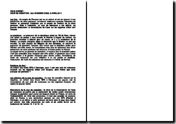 Fiche d'arrêt de la Première Chambre civile de la Cour de cassation du 6 avril 2011 : le refus de la transcription de l'acte de naissance