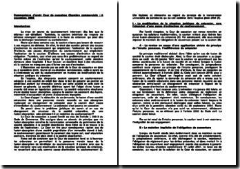 Commentaire d'arrêt de la Chambre commerciale de la Cour de cassation du 8 novembre 2005 : le sort du cautionnement en matière de modification de la situation juridique du créancier