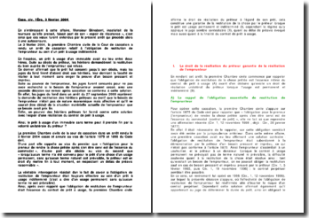 Commentaire d'arrêt de la Première Chambre civile de la Cour de cassation du 3 février 2004 : l'obligation de restitution de l'emprunteur au sein d'un prêt à usage indéterminé
