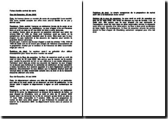 Fiche d'arrêt de la Cour de cassation du 25 mai 2005 et de la Cour de cassation du 20 mai 2009 relative au contrat de vente