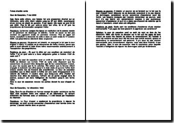 Fiches d'arrêts de la Cour de cassation du 7 mai 2008 et de la Cour de cassation du 1er décembre 1969 relatives à la vente
