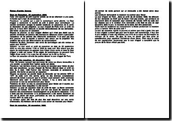 Fiches d'arrêts de la Cour de cassation du 24 septembre 2003, de la Cour de cassation du 28 décembre 1932 et de la Cour de cassation du 20 novembre 1984 relatives aux lésions