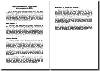 Les directives territoriales d'aménagement (DTA)