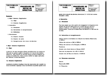 Procédure de revue de direction ISO 22000