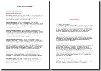 Notions clés et vocabulaire sur la Constitution
